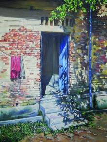 Landscape Acrylic Art Painting title Lane by artist Pratap Manna