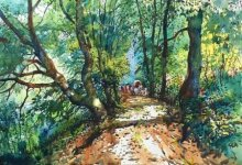 Nature Watercolor Art Painting title 'Forest Scene' by artist Bijay Biswaal