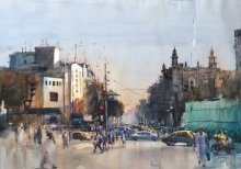 Cityscape Watercolor Art Painting title 'Regal Cinema' by artist Bijay Biswaal