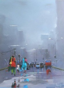 Cityscape Acrylic Art Painting title Rainy Day by artist Bijay Biswaal
