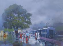 Bijay Biswaal | Acrylic Painting title Wet Platform XI on Canvas