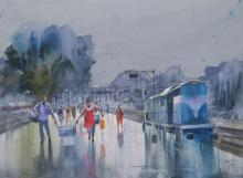 Bijay Biswaal | Watercolor Painting title Wet Platform Pune on Paper