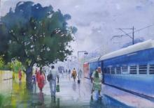 Cityscape Watercolor Art Painting title 'Wet Platform Korba' by artist Bijay Biswaal