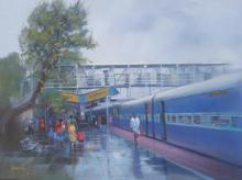 Cityscape Watercolor Art Painting title 'Wet Platform Rajnandgaon' by artist Bijay Biswaal