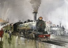 Cityscape Watercolor Art Painting title 'Wet Platform Lucknow' by artist Bijay Biswaal