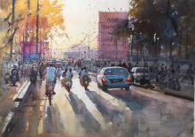 Cityscape Watercolor Art Painting title My City by artist Bijay Biswaal