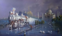 art, painting, train, indian, rail, platform, original