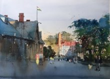 Cityscape Watercolor Art Painting title Walking On The Street by artist Bijay Biswaal