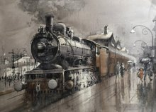 Cityscape Watercolor Art Painting title 'Wet Platform 11' by artist Bijay Biswaal