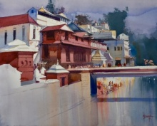 Place Watercolor Art Painting title 'Pashupati Ghat' by artist Bijay Biswaal