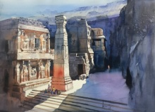Bijay Biswaal | Watercolor Painting title Ajanta Ellora on Paper