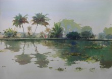 Nature Watercolor Art Painting title Backwaters by artist Bijay Biswaal