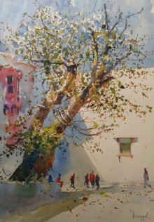 Cityscape Watercolor Art Painting title 'Banyan Tree' by artist Bijay Biswaal