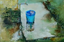 Still-life Watercolor Art Painting title 'Blue Bucket' by artist Bijay Biswaal