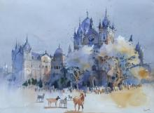 Cityscape Watercolor Art Painting title 'Bombay Village I' by artist Bijay Biswaal