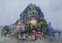 Cityscape Watercolor Art Painting title 'Bombay Village III' by artist Bijay Biswaal