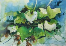 Nature Watercolor Art Painting title 'Broad Leaves' by artist Bijay Biswaal