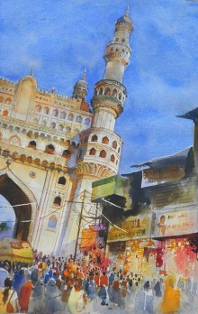Bijay Biswaal | Watercolor Painting title Charminar on Arches Paper