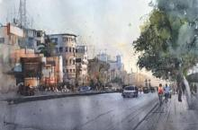 Bijay Biswaal | Watercolor Painting title Cityscape 5 on Paper