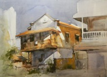 Bijay Biswaal | Watercolor Painting title House at Dhantoli on Paper