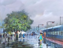 Place Acrylic Art Painting title Wet Platform 75 by artist Bijay Biswaal