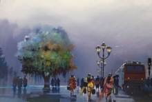 Place Acrylic Art Painting title 'Wet Platform 76' by artist Bijay Biswaal