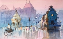 Fantasy Watercolor Art Painting title 'Flora Fountain Special' by artist Bijay Biswaal
