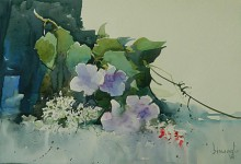 Bijay Biswaal | Watercolor Painting title Flowers on Paper