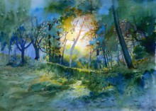 Nature Watercolor Art Painting title Fresh Air by artist Bijay Biswaal