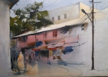 Bijay Biswaal | Watercolor Painting title Gadkariwada on Handmade Paper