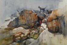 Cityscape Watercolor Art Painting title 'Goats On The Rock' by artist Bijay Biswaal