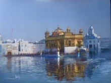 Cityscape Acrylic Art Painting title Golden Temple by artist Bijay Biswaal