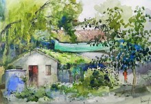 Cityscape Watercolor Art Painting title Green House by artist Bijay Biswaal