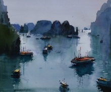 Seascape Watercolor Art Painting title 'Halong Bay' by artist Bijay Biswaal