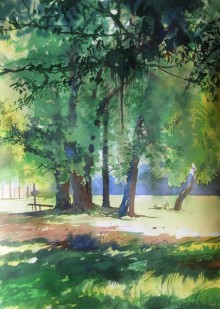 Nature Watercolor Art Painting title Jhimiripali In Odisha by artist Bijay Biswaal
