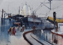 Place Watercolor Art Painting title Kanpur Central 3 by artist Bijay Biswaal