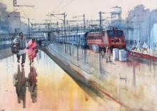 Place Watercolor Art Painting title 'Kanpur Central Labour Day 2' by artist Bijay Biswaal