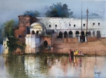 Place Watercolor Art Painting title 'Kanpur Ghat 2' by artist Bijay Biswaal