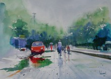 Cityscape Watercolor Art Painting title 'Life After Rain I' by artist Bijay Biswaal