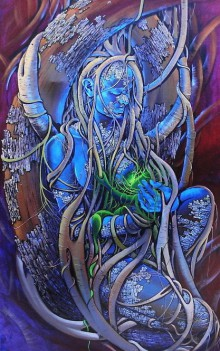 Figurative Acrylic Art Painting title Mother Earth by artist Bijay Biswaal
