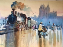 Fantasy Watercolor Art Painting title 'Mumbai Dabbawala 1' by artist Bijay Biswaal