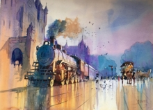 Fantasy Watercolor Art Painting title 'Mumbai Retro' by artist Bijay Biswaal