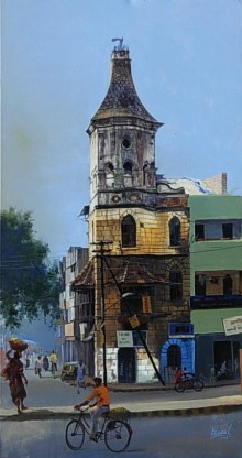 Cityscape Acrylic Art Painting title 'Nagpur Morning' by artist Bijay Biswaal