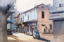 Cityscape Watercolor Art Painting title 'Nagpur Morning' by artist Bijay Biswaal