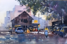 Cityscape Watercolor Art Painting title Nagpur Orange by artist Bijay Biswaal