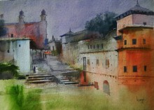 Cityscape Watercolor Art Painting title 'Old Bhopal II' by artist Bijay Biswaal