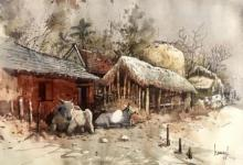 Bijay Biswaal | Watercolor Painting title Odhisa Village 21 on Paper