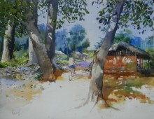 Bijay Biswaal | Watercolor Painting title Odisha Village on Paper