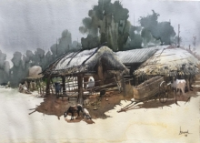 Cityscape Watercolor Art Painting title 'Odisha Village 2' by artist Bijay Biswaal