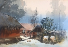 Cityscape Watercolor Art Painting title 'Odisha Village 3' by artist Bijay Biswaal